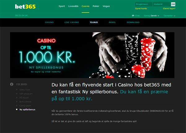 Bonus hos Bet365 Casino