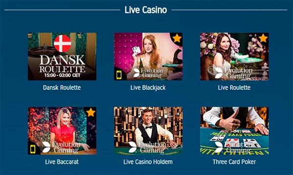Live casino: roulette, blackjack, baccarat, holdem, poker