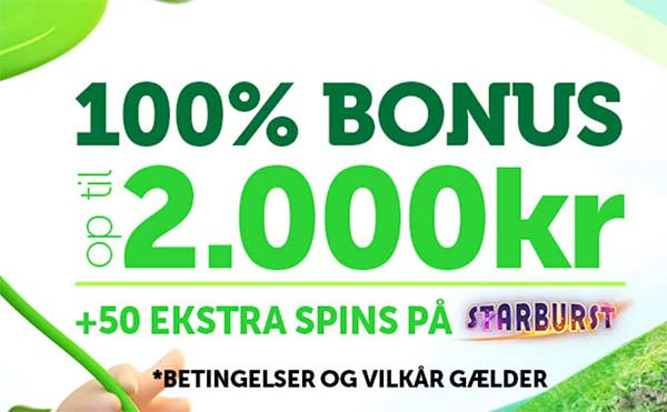 Casinoluck bonus - 2000 kr + 50 free spins til Starburst