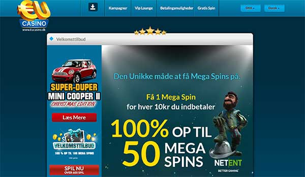 EUcasino bonus: 50 MEGA spins