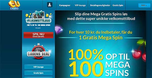 EUcasino bonus: 100 MEGA spins