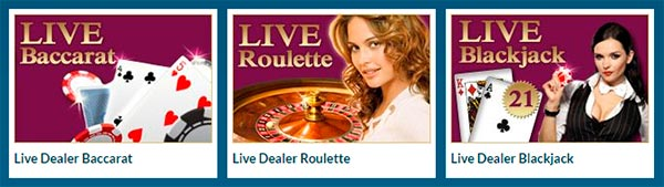 Live dealer roulette, baccarat, blackjack