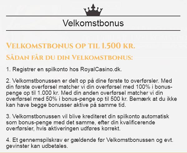 Register en spilkonto hos Royal Casino - bonus op til 1500kr