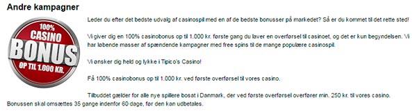 Tipico casino bonus - 1000 kr.