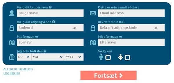 Opret konto hos Casinoandfriends.dk