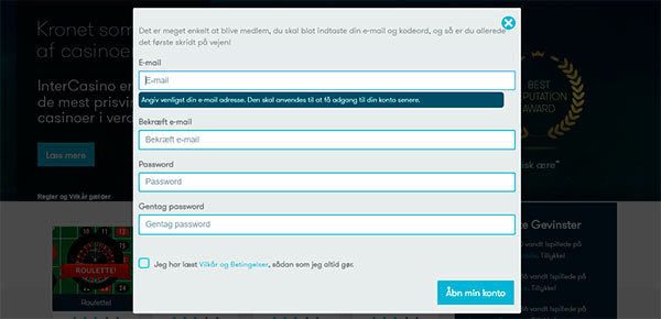 Opret din konto hos Intercasino.dk