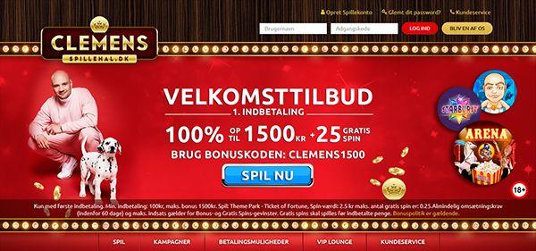Clemensspillehal bonus - 1500 kr & 25 free spins