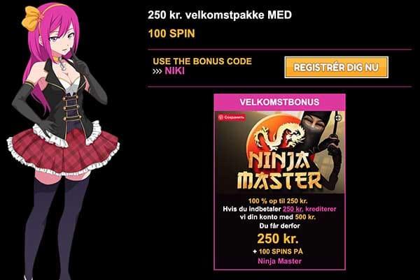 LuckyNiki Bonus op til 250 kr & 100 gratis spins