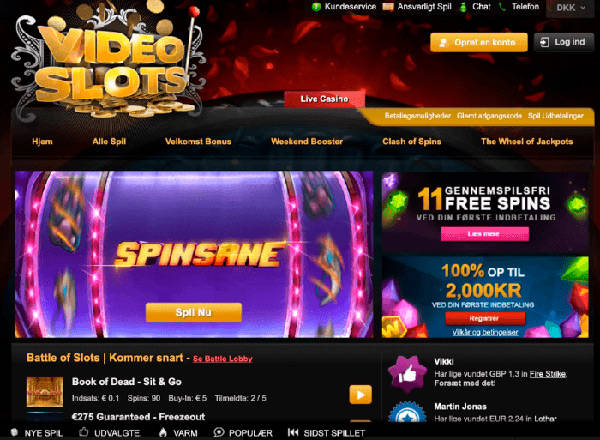 Videoslots home page